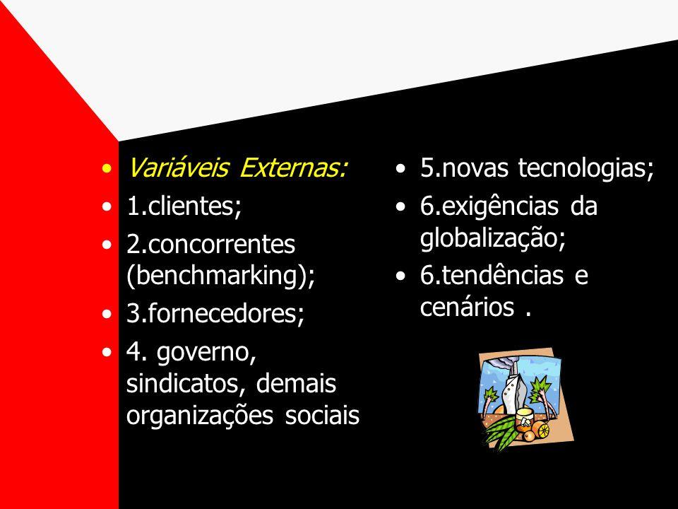 Variáveis Internas: 1.estrutura da empresa; 2.disposição investir; 3.burocracia; 5.complexidade dos sistemas; 6.tecnologia disponível; 7.RH disponívei