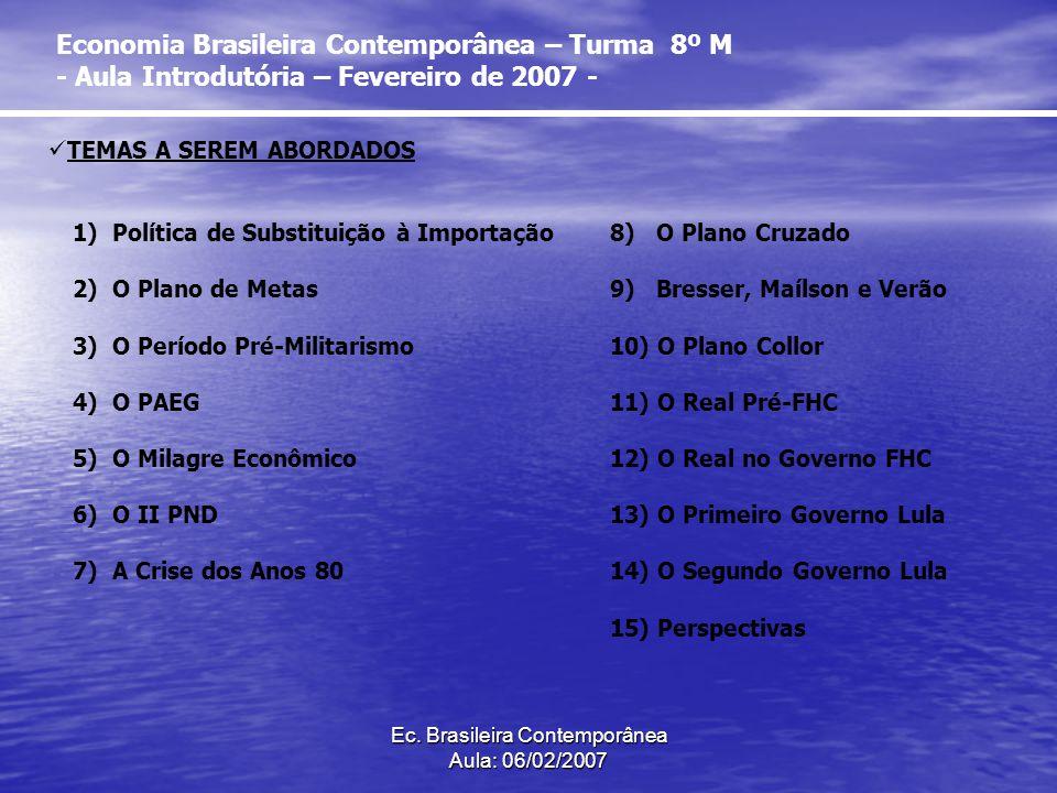 Ec. Brasileira Contemporânea Aula: 06/02/2007 Economia Brasileira Contemporânea – Turma 8º M - Aula Introdutória – Fevereiro de 2007 - 1)Política de S