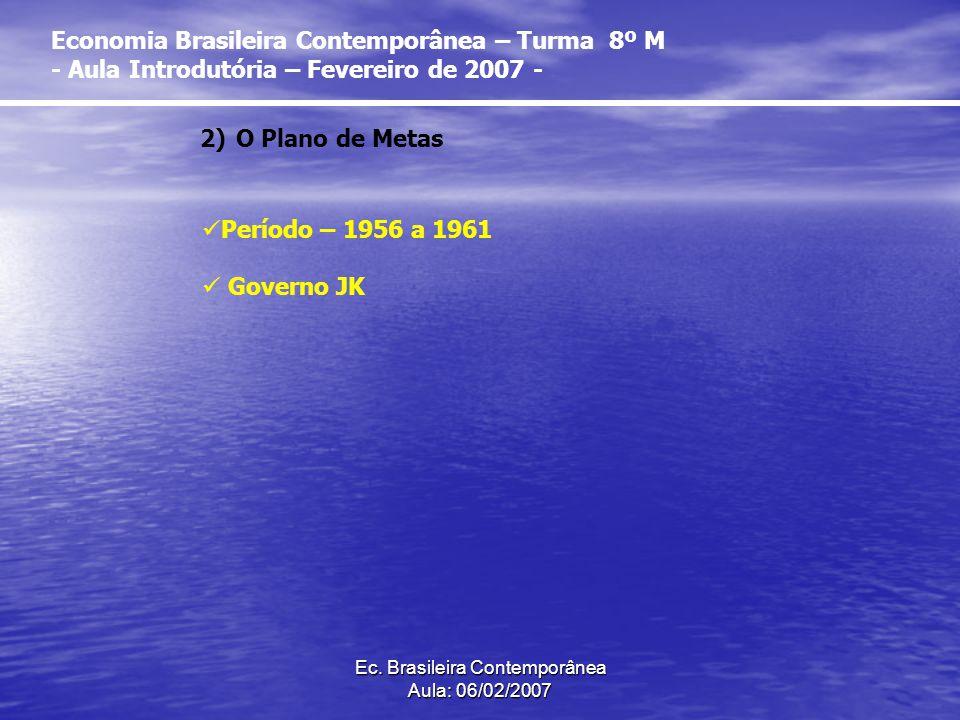 Ec. Brasileira Contemporânea Aula: 06/02/2007 2)O Plano de Metas Período – 1956 a 1961 Governo JK Economia Brasileira Contemporânea – Turma 8º M - Aul