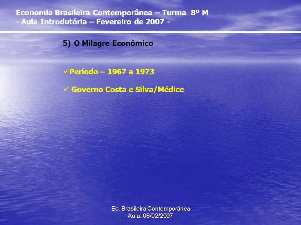 Ec. Brasileira Contemporânea Aula: 06/02/2007 5)O Milagre Econômico Período – 1967 a 1973 Governo Costa e Silva/Médice Economia Brasileira Contemporân