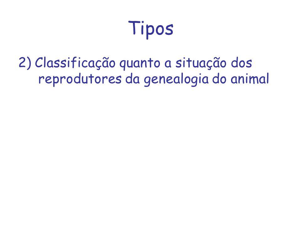 Tipos 2) Classificação quanto a situação dos reprodutores da genealogia do animal