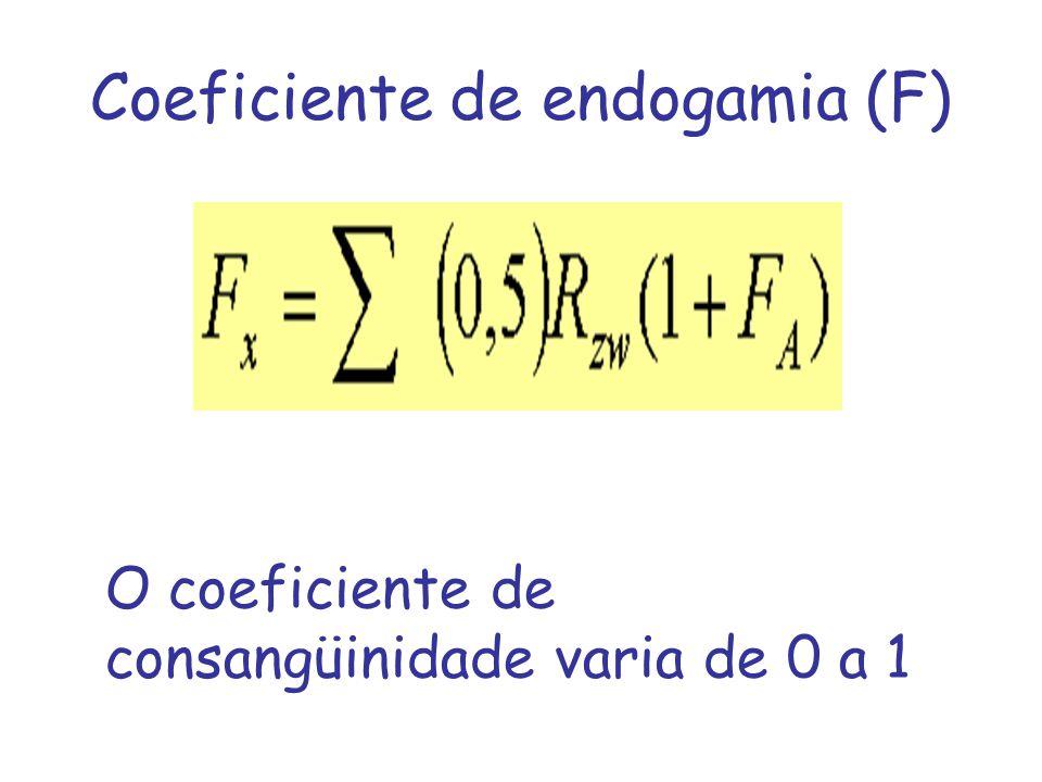 Coeficiente de endogamia (F) O coeficiente de consangüinidade varia de 0 a 1