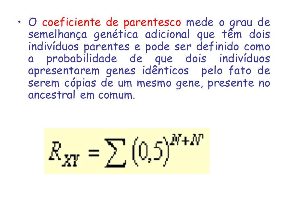 O coeficiente de parentesco mede o grau de semelhança genética adicional que têm dois indivíduos parentes e pode ser definido como a probabilidade de