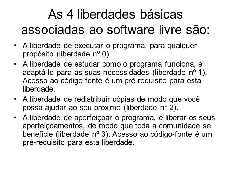 As 4 liberdades básicas associadas ao software livre são: A liberdade de executar o programa, para qualquer propósito (liberdade nº 0) A liberdade de estudar como o programa funciona, e adaptá-lo para as suas necessidades (liberdade nº 1).