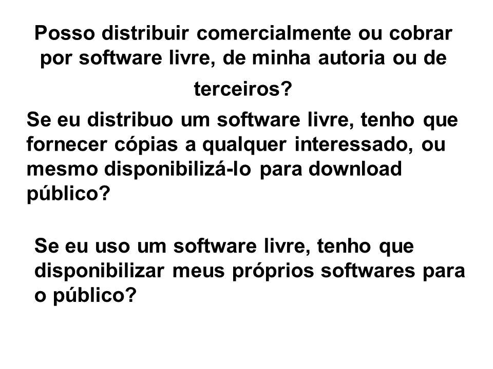 Posso distribuir comercialmente ou cobrar por software livre, de minha autoria ou de terceiros.