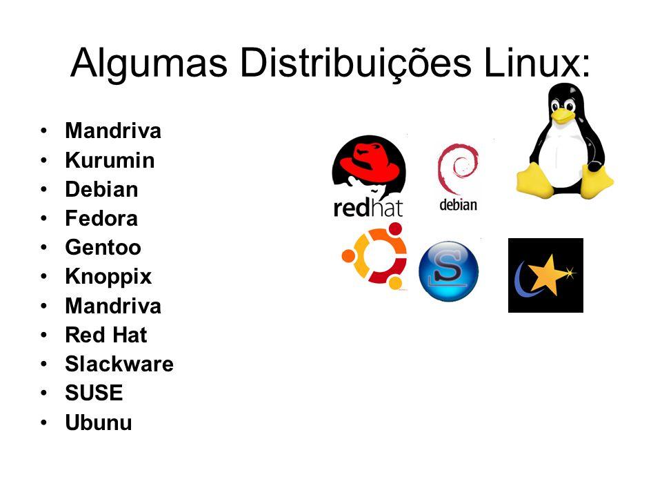 Algumas Distribuições Linux: Mandriva Kurumin Debian Fedora Gentoo Knoppix Mandriva Red Hat Slackware SUSE Ubunu