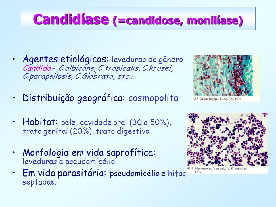 Candidíase (=candidose, monilíase) Agentes etiológicos: leveduras do gênero Candida – C.albicans, C.tropicalis, C.krusei, C.parapsilosis, C.Glabrata,
