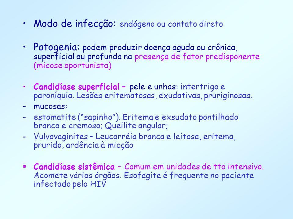Modo de infecção: endógeno ou contato direto Patogenia: podem produzir doença aguda ou crônica, superficial ou profunda na presença de fator predispon