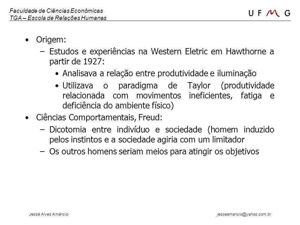 Faculdade de Ciências Econômicas TGA – Escola de Relações Humanas Jessé Alves Amâncio jesseamancio@yahoo.com.br Origem: –Estudos e experiências na Wes
