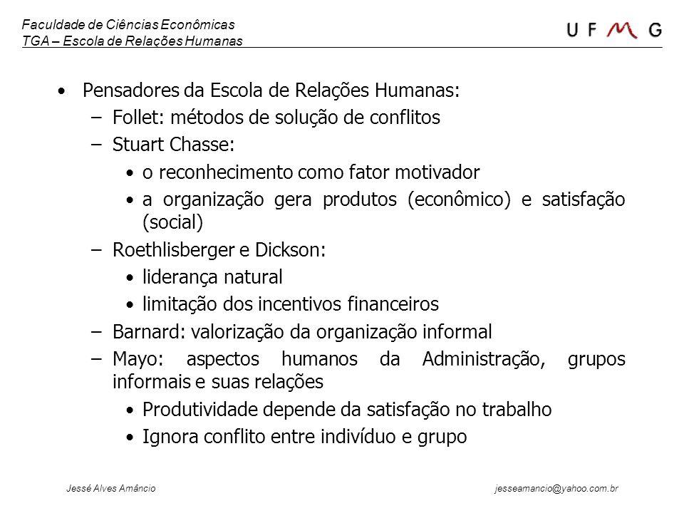 Faculdade de Ciências Econômicas TGA – Escola de Relações Humanas Jessé Alves Amâncio jesseamancio@yahoo.com.br Pensadores da Escola de Relações Human