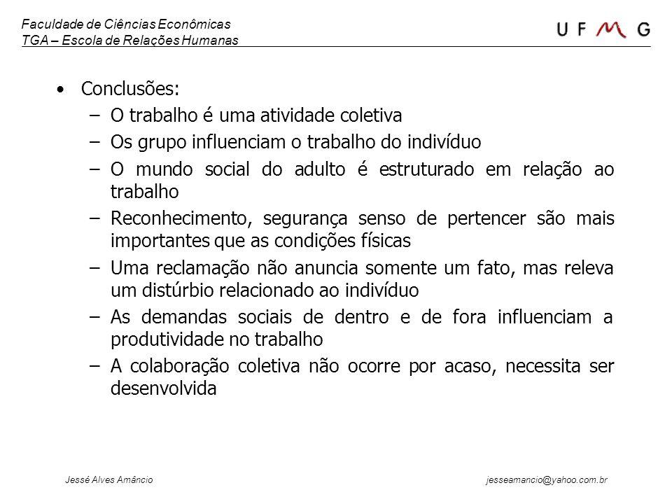 Faculdade de Ciências Econômicas TGA – Escola de Relações Humanas Jessé Alves Amâncio jesseamancio@yahoo.com.br Conclusões: –O trabalho é uma atividad