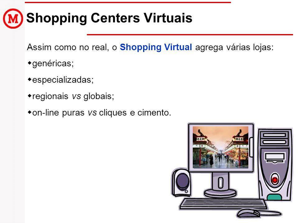 Shopping Centers Virtuais Assim como no real, o Shopping Virtual agrega várias lojas: genéricas; especializadas; regionais vs globais; on-line puras v