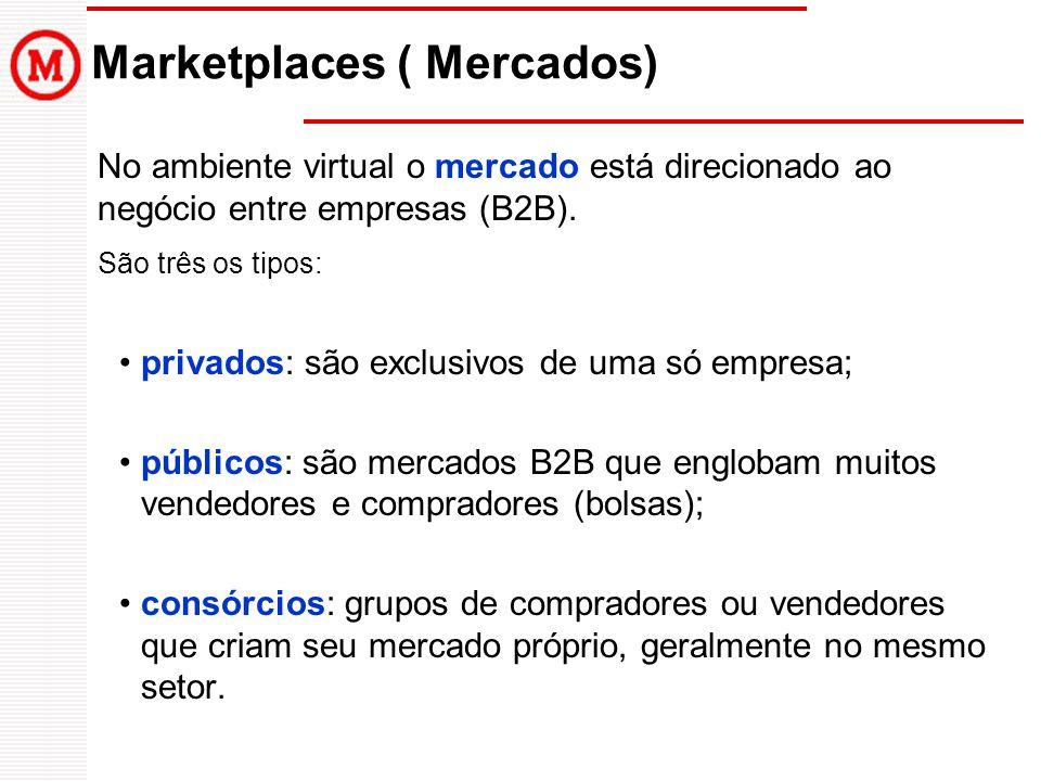 No ambiente virtual o mercado está direcionado ao negócio entre empresas (B2B). São três os tipos: privados: são exclusivos de uma só empresa; público
