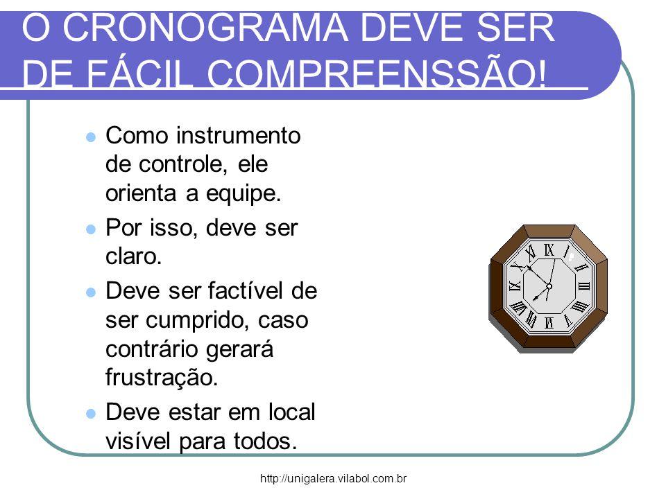 http://unigalera.vilabol.com.br O CRONOGRAMA DEVE SER DE FÁCIL COMPREENSSÃO! Como instrumento de controle, ele orienta a equipe. Por isso, deve ser cl