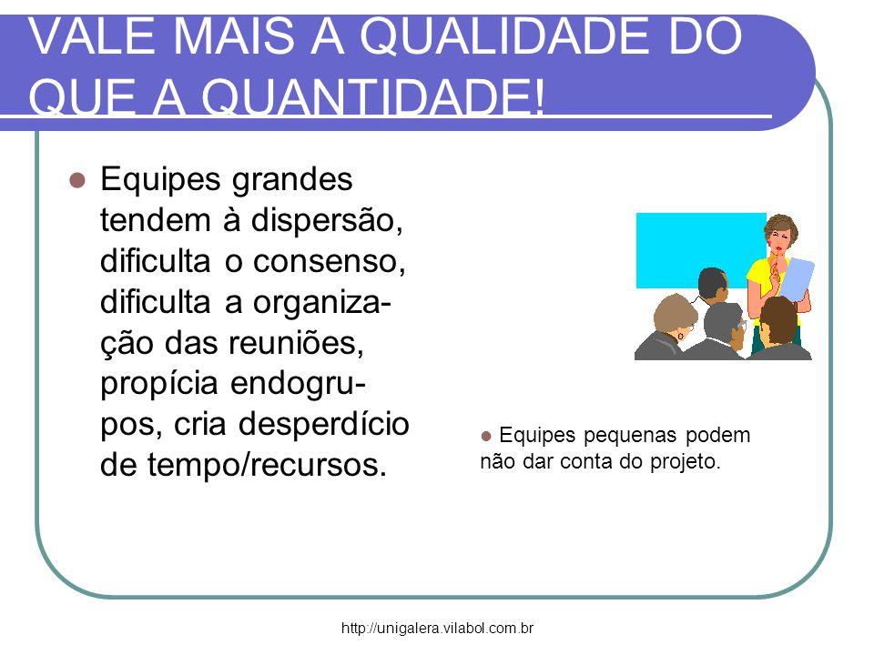 http://unigalera.vilabol.com.br VALE MAIS A QUALIDADE DO QUE A QUANTIDADE! Equipes grandes tendem à dispersão, dificulta o consenso, dificulta a organ