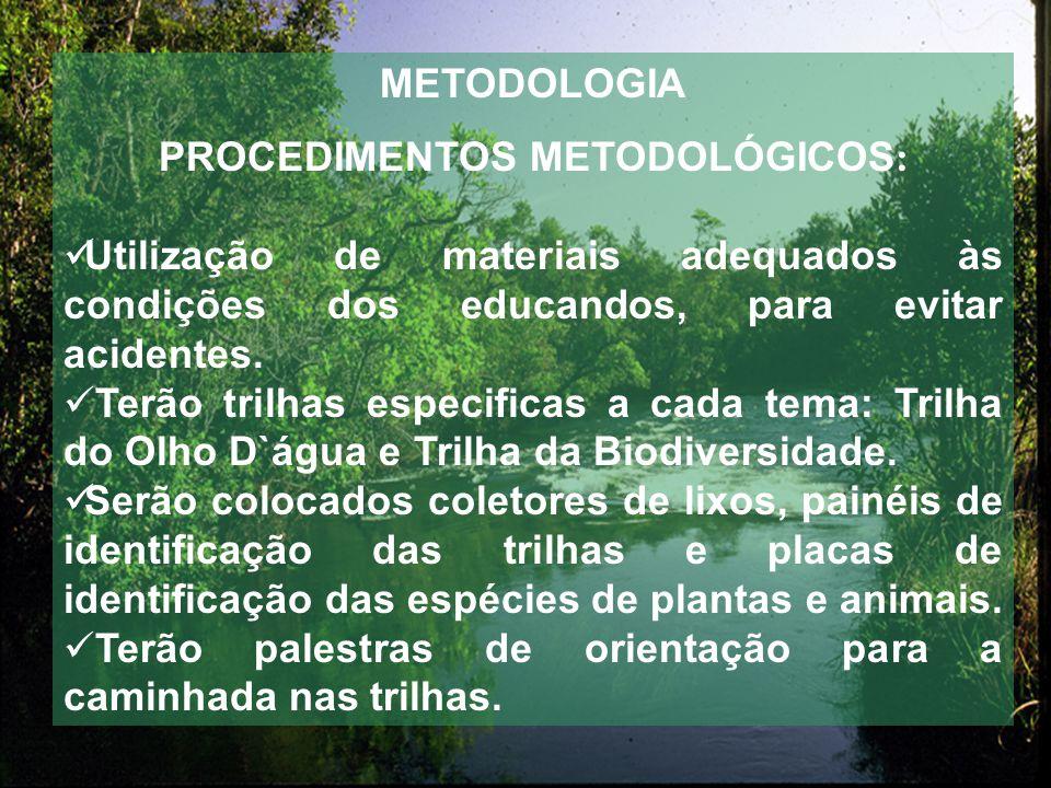 METODOLOGIA PROCEDIMENTOS METODOLÓGICOS : Utilização de materiais adequados às condições dos educandos, para evitar acidentes.