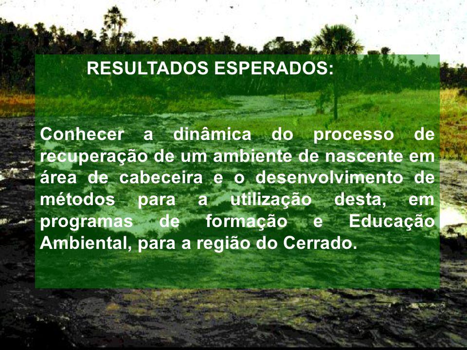 RESULTADOS ESPERADOS: Conhecer a dinâmica do processo de recuperação de um ambiente de nascente em área de cabeceira e o desenvolvimento de métodos para a utilização desta, em programas de formação e Educação Ambiental, para a região do Cerrado.