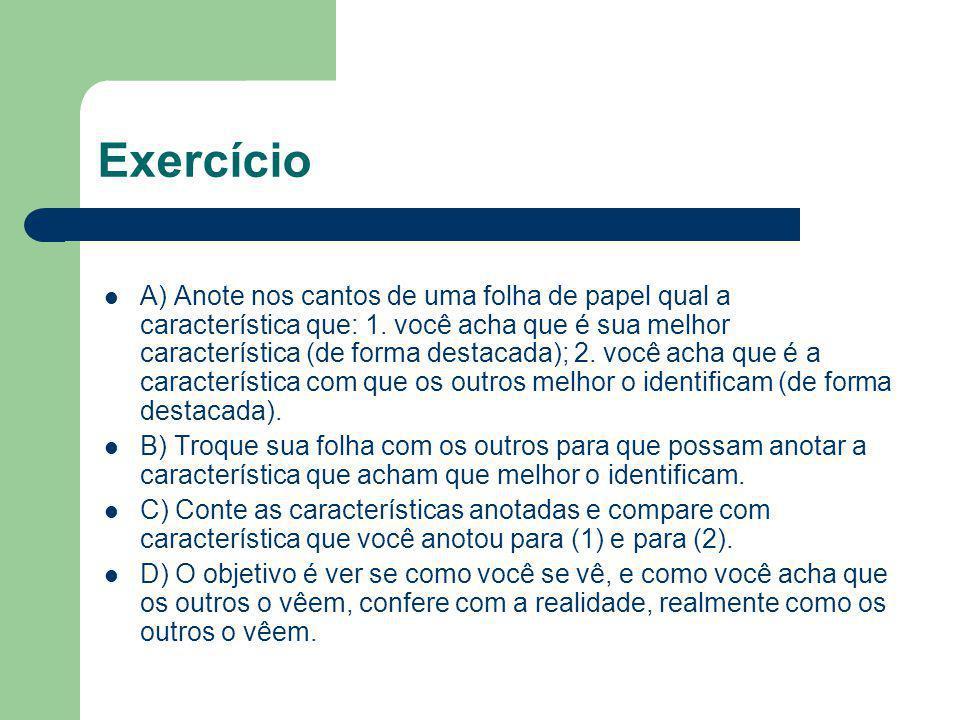 Exercício A) Anote nos cantos de uma folha de papel qual a característica que: 1. você acha que é sua melhor característica (de forma destacada); 2. v