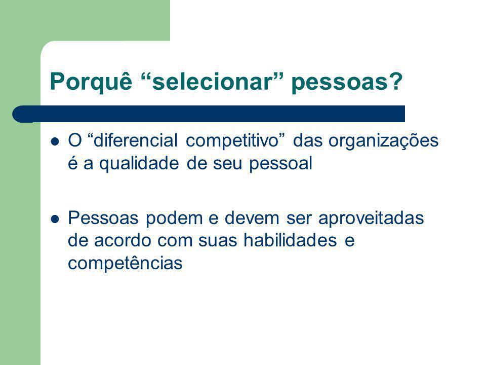 Porquê selecionar pessoas? O diferencial competitivo das organizações é a qualidade de seu pessoal Pessoas podem e devem ser aproveitadas de acordo co