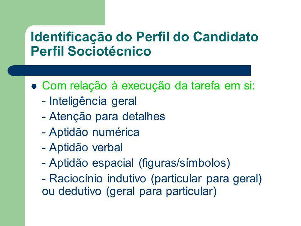 Identificação do Perfil do Candidato Perfil Sociotécnico Com relação à execução da tarefa em si: - Inteligência geral - Atenção para detalhes - Aptidã