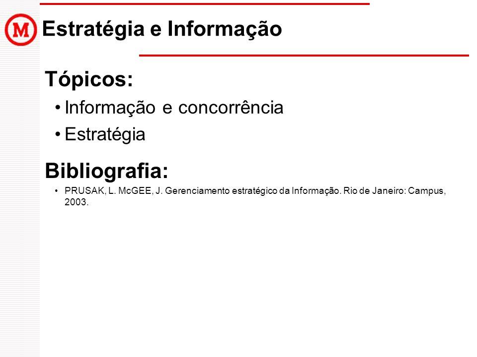 Estratégia e Informação Tópicos: Informação e concorrência Estratégia Bibliografia: PRUSAK, L.