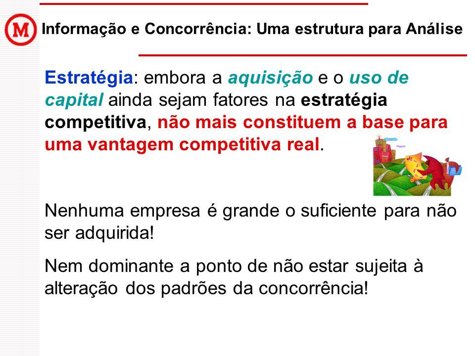 Informação e Concorrência: Uma estrutura para Análise Estratégia: embora a aquisição e o uso de capital ainda sejam fatores na estratégia competitiva, não mais constituem a base para uma vantagem competitiva real.