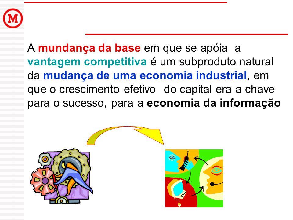 A mundança da base em que se apóia a vantagem competitiva é um subproduto natural da mudança de uma economia industrial, em que o crescimento efetivo do capital era a chave para o sucesso, para a economia da informação