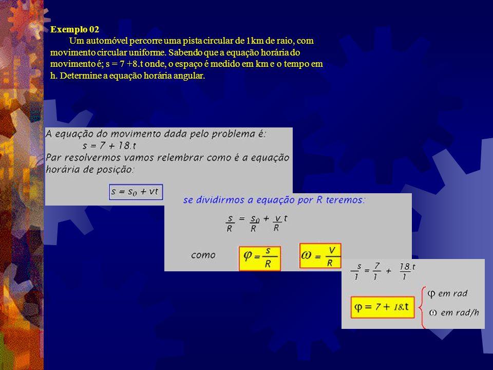Exemplos: Exemplo 01 Uma partícula executa um movimento circular uniforme de raio R=1m com aceleração 0,25m/s 2. Determine: a) a velocidade angular; b