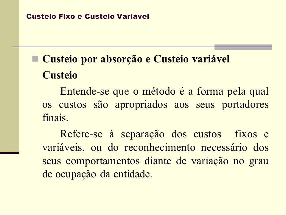 Custeio Fixo e Custeio Variável Custeio por absorção e Custeio variável Custeio Entende-se que o método é a forma pela qual os custos são apropriados