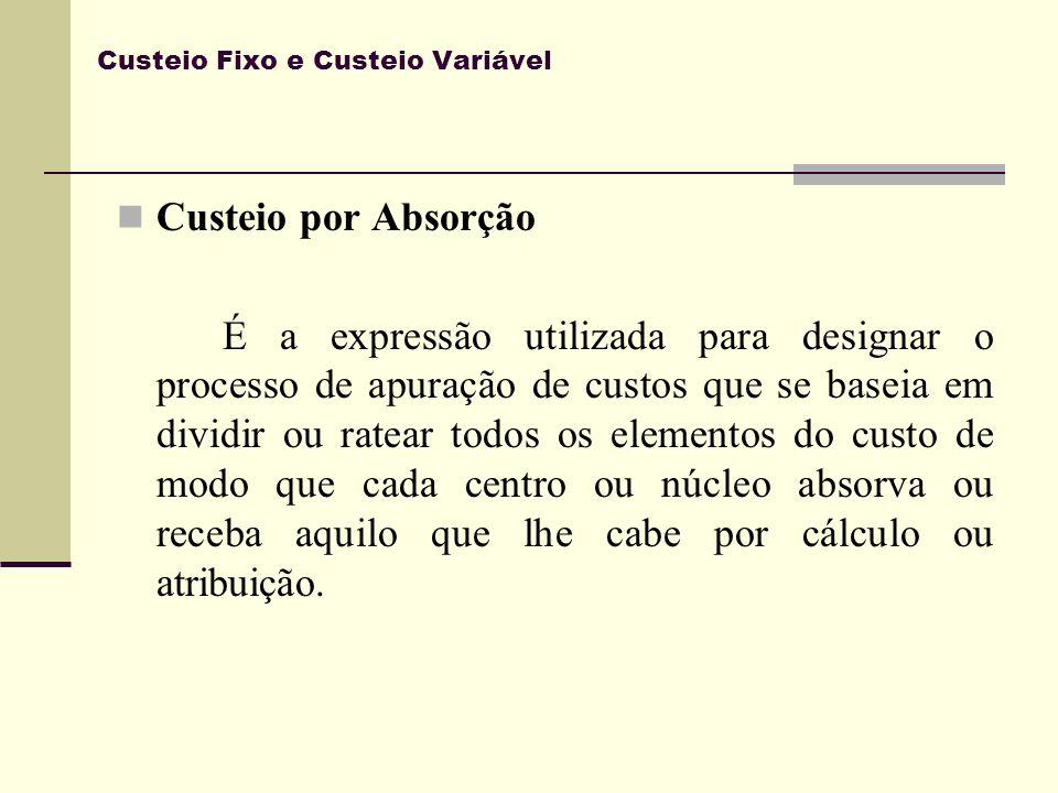 Custeio Fixo e Custeio Variável Custeio por Absorção É a expressão utilizada para designar o processo de apuração de custos que se baseia em dividir o