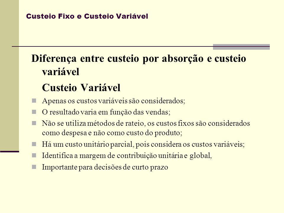 Custeio Fixo e Custeio Variável Diferença entre custeio por absorção e custeio variável Custeio Variável Apenas os custos variáveis são considerados;