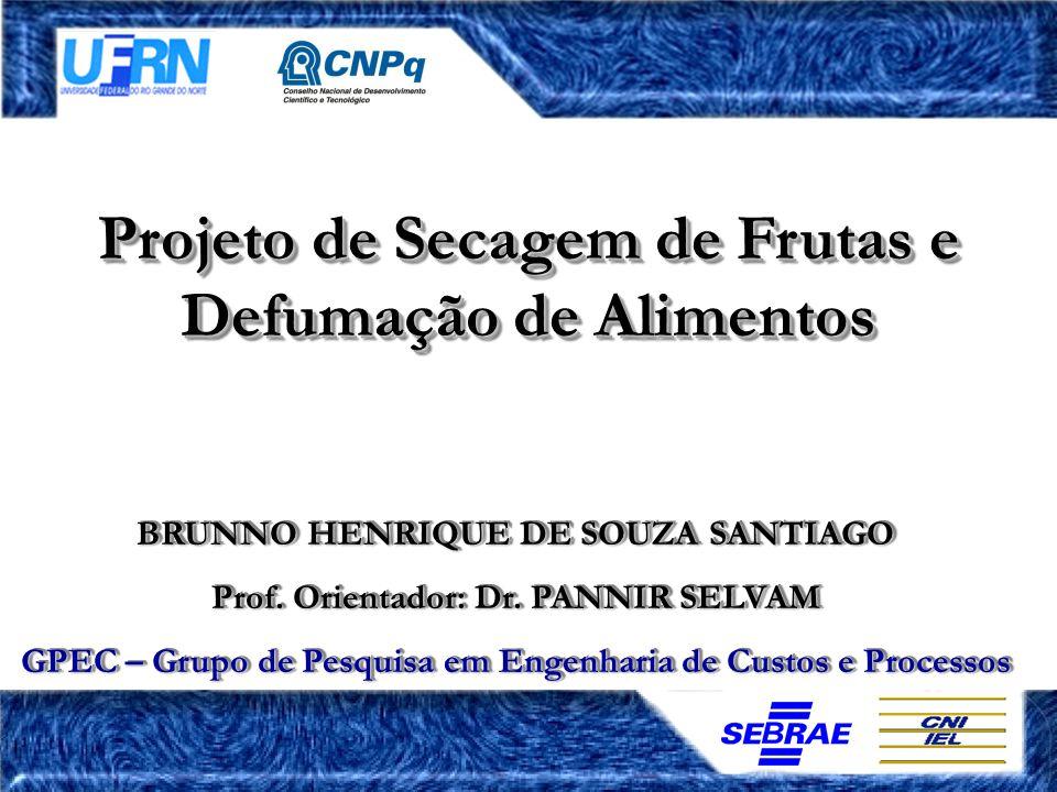 Projeto de Secagem de Frutas e Defumação de Alimentos BRUNNO HENRIQUE DE SOUZA SANTIAGO Prof. Orientador: Dr. PANNIR SELVAM GPEC – Grupo de Pesquisa e