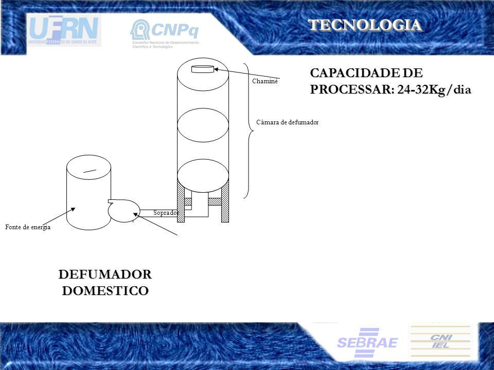 TECNOLOGIATECNOLOGIA CAPACIDADE DE PROCESSAR: 24-32Kg/dia DEFUMADOR DOMESTICO Fonte de energia Soprador Chaminé Câmara de defumador