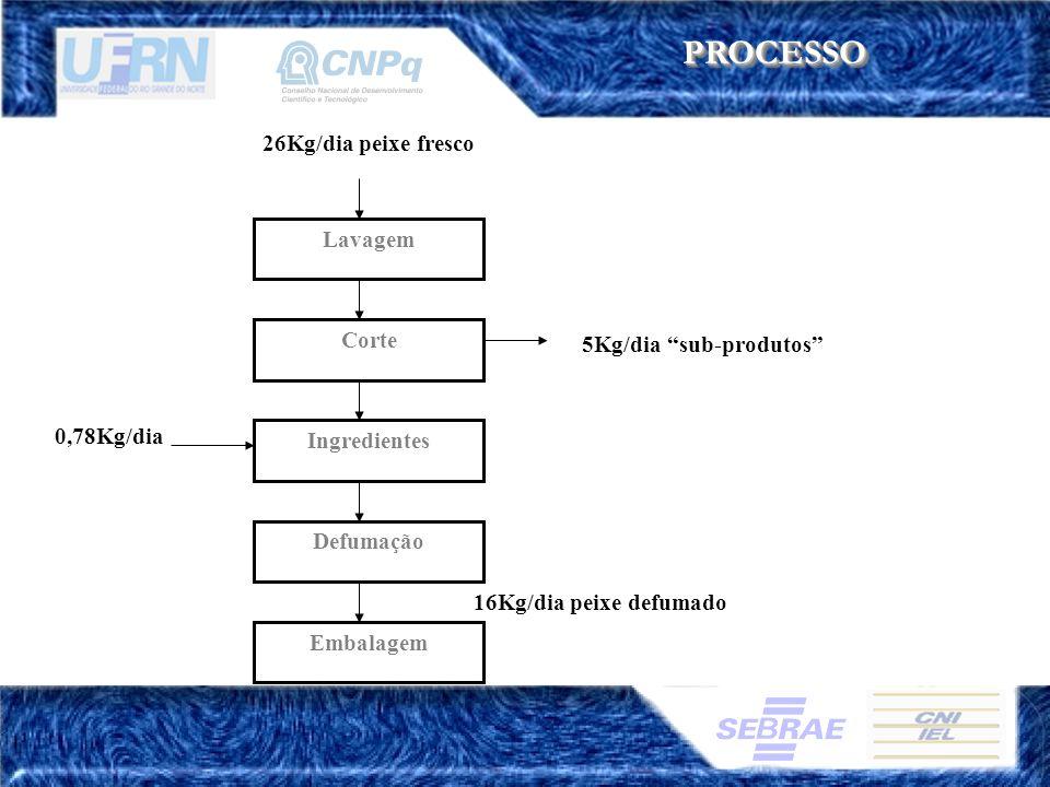 PROCESSOPROCESSO 0,78Kg/dia Lavagem Corte Defumação 5Kg/dia sub-produtos 26Kg/dia peixe fresco Ingredientes 16Kg/dia peixe defumado Embalagem
