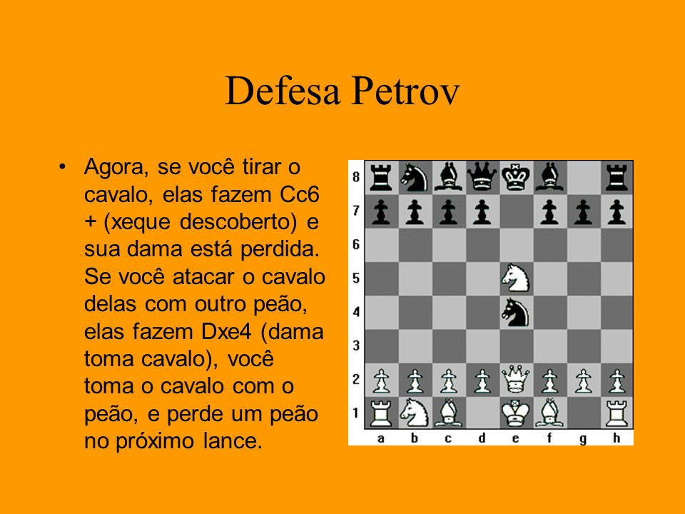 Defesa Petrov Agora, se você tirar o cavalo, elas fazem Cc6 + (xeque descoberto) e sua dama está perdida. Se você atacar o cavalo delas com outro peão