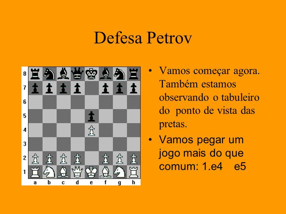 Defesa Petrov Vamos começar agora. Também estamos observando o tabuleiro do ponto de vista das pretas. Vamos pegar um jogo mais do que comum: 1.e4e5