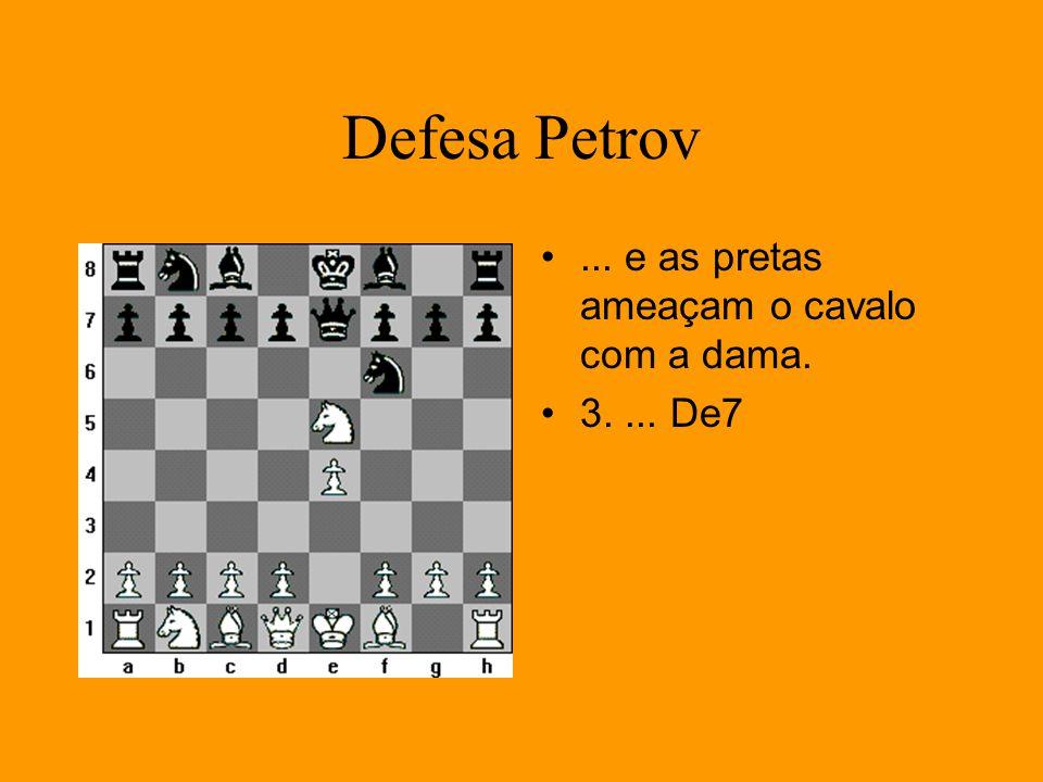 Defesa Petrov... e as pretas ameaçam o cavalo com a dama. 3.... De7