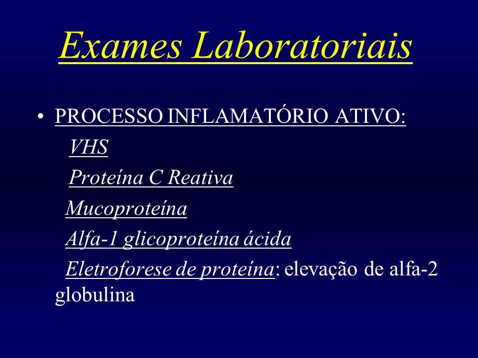 Exames Laboratoriais PROCESSO INFLAMATÓRIO ATIVO: VHS Proteína C Reativa Mucoproteína Alfa-1 glicoproteína ácida Eletroforese de proteína: elevação de alfa-2 globulina
