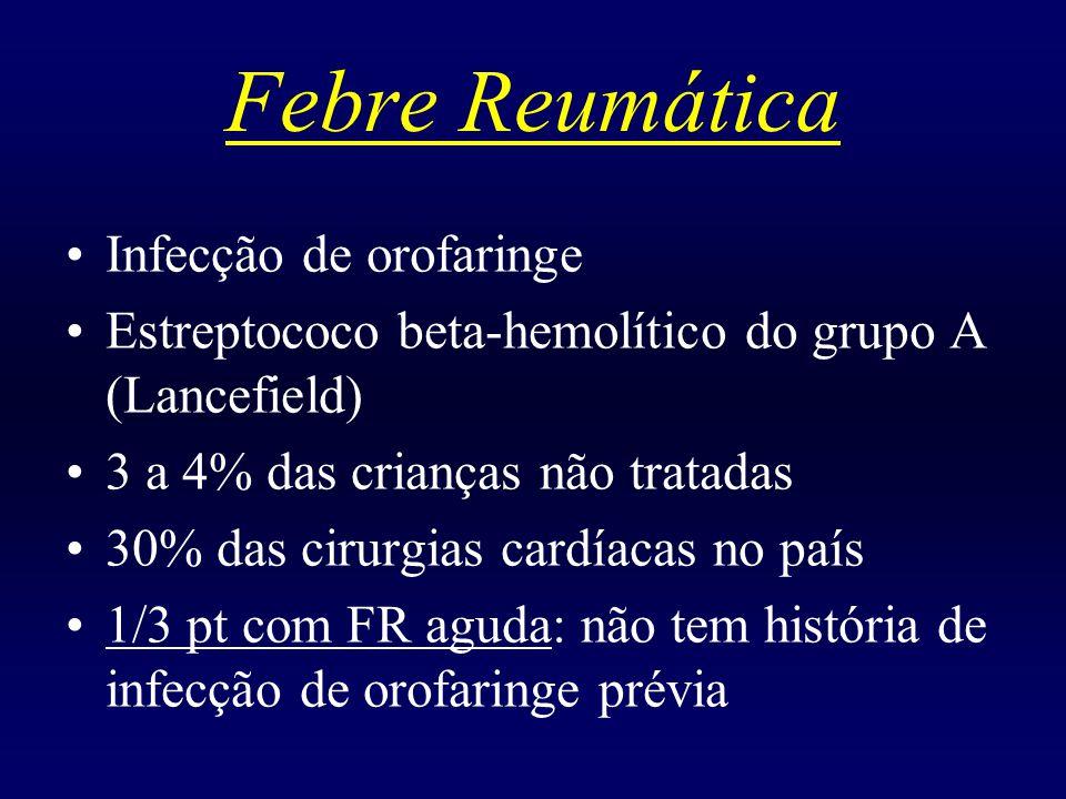 Febre Reumática Infecção de orofaringe Estreptococo beta-hemolítico do grupo A (Lancefield) 3 a 4% das crianças não tratadas 30% das cirurgias cardíacas no país 1/3 pt com FR aguda: não tem história de infecção de orofaringe prévia