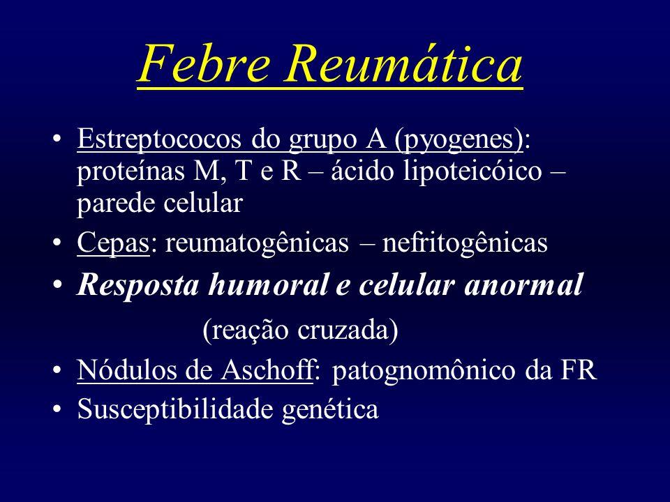 Febre Reumática Faixa etária: 5 aos 15 anos de idade Primeiro surto: raro abaixo dos 3 a e acima dos 18 anos de idade Período de latência: 2 a 3 semanas até 6 meses Sintomas iniciais: febre, mal-estar, anorexia Critérios de JONES: maiores/ menores