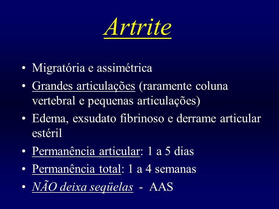 Cardite Única manifestação que deixa seqüela/ Pan-cardite Classificação: leve, moderada e grave (ICC) Válvula MITRAL: mais acometida aórtica/ tricúspide e pulmonar (raramente) Principal seqüela: INSUFICIÊNCIA MITRAL Macroscopia: verrucosidades, espessamento, deformação com fusão das comissuras Sopro de Carey-Coomb: típico de valvulite mitral (meso-diastólico apical) Corticoterapia