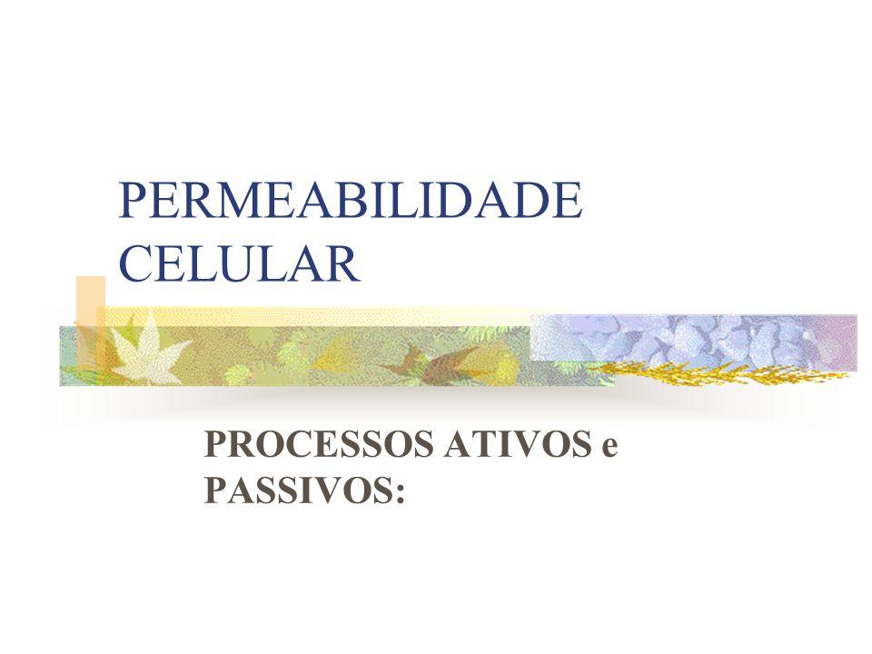 PERMEABILIDADE CELULAR PROCESSOS ATIVOS e PASSIVOS: