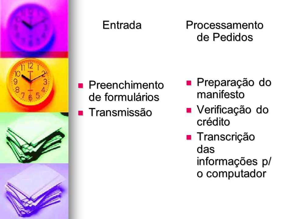 Entrada Preenchimento de formulários Preenchimento de formulários Transmissão Transmissão Processamento de Pedidos Preparação do manifesto Preparação do manifesto Verificação do crédito Verificação do crédito Transcrição das informações p/ o computador Transcrição das informações p/ o computador