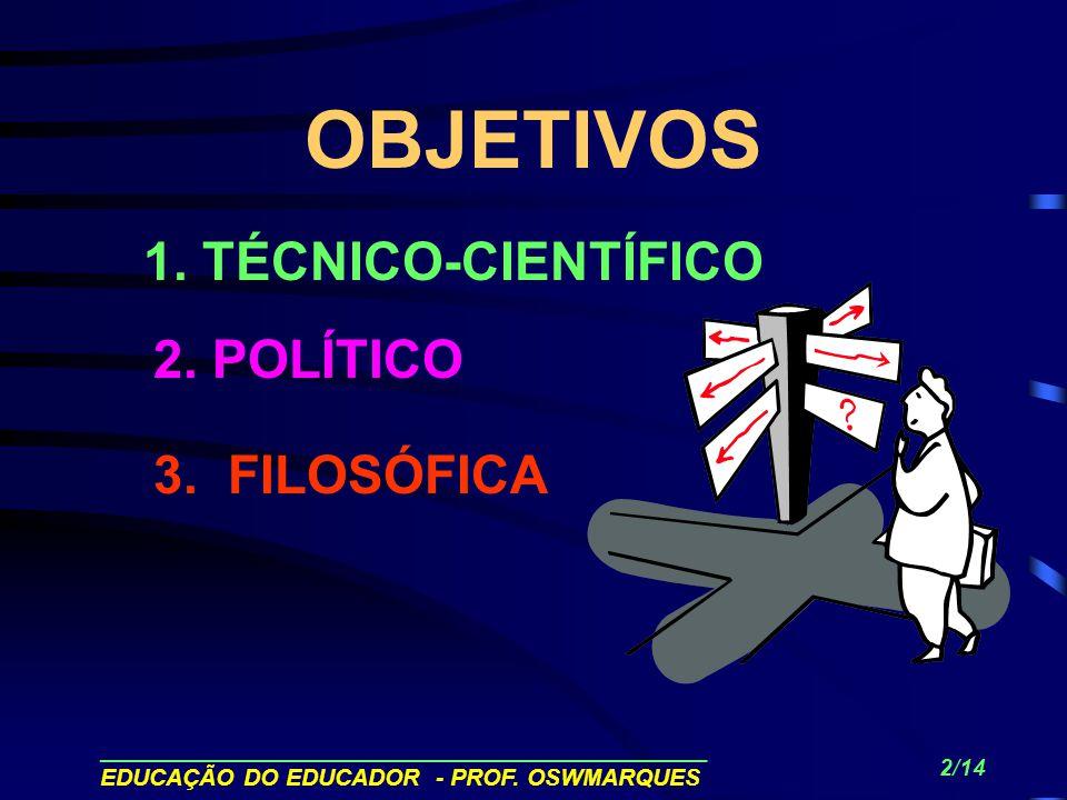 1 A EDUCAÇÃO DO EDUCADOR SEVERINO, Antonio Joaquim. Filosofia da Educação; construindo a cidadania. São Paulo : FTD.1994.