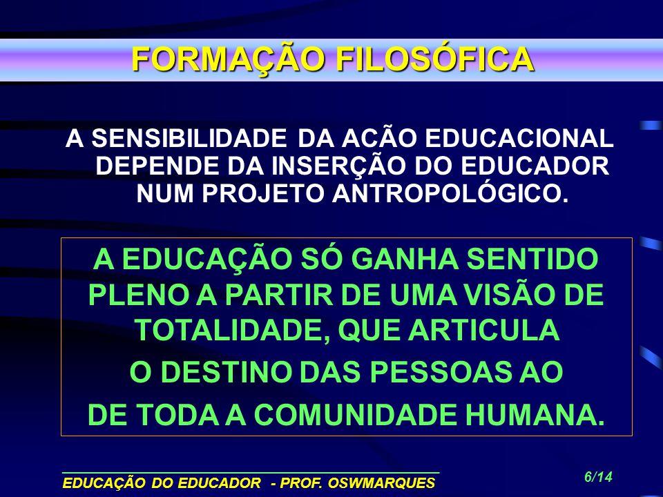 ______________________________________________ EDUCAÇÃO DO EDUCADOR - PROF. OSWMARQUES 5/14 APROPRIAÇÃO E O DESENVOLVIMENTO DE UMA CONSCIÊNCIA SOCIAL