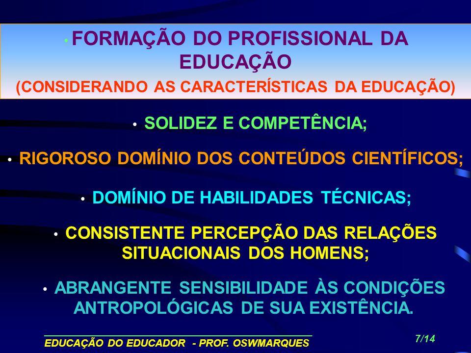______________________________________________ EDUCAÇÃO DO EDUCADOR - PROF. OSWMARQUES 6/14 A SENSIBILIDADE DA ACÃO EDUCACIONAL DEPENDE DA INSERÇÃO DO