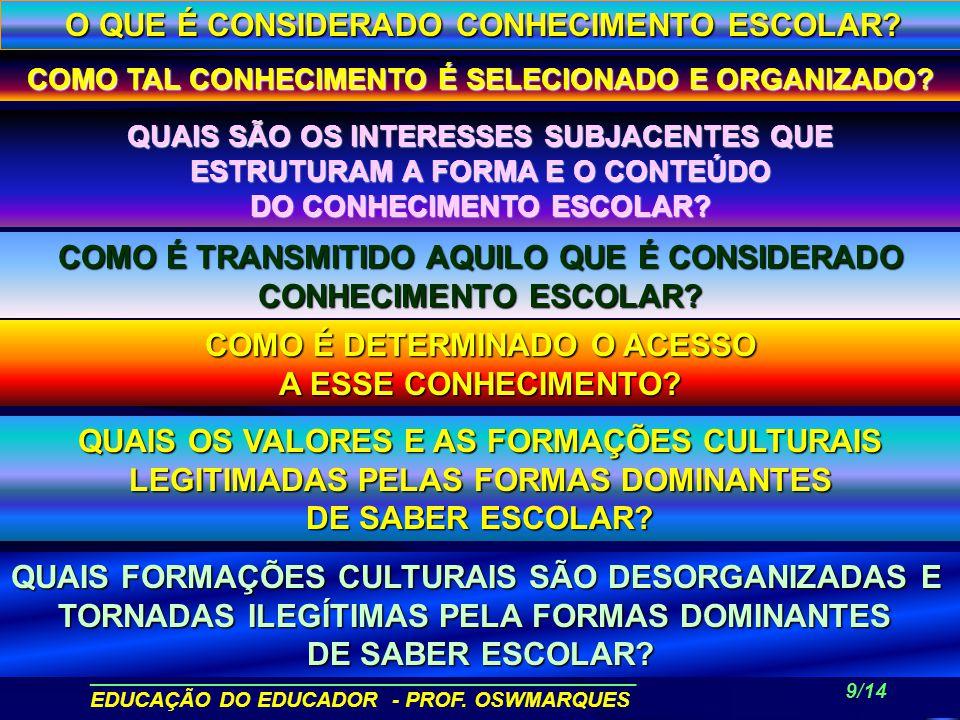 ______________________________________________ EDUCAÇÃO DO EDUCADOR - PROF. OSWMARQUES 8/14 O EDUCADOR COMO INTELECTUAL TRANSFORMADOR Ao invés de cons