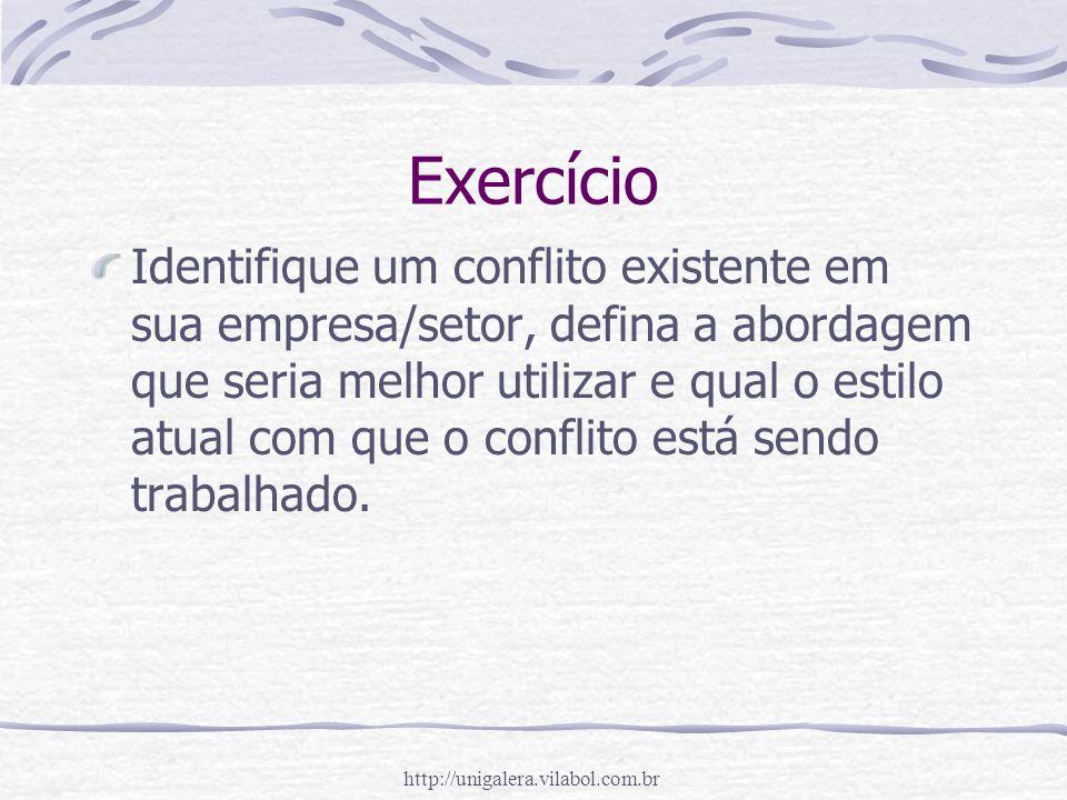 http://unigalera.vilabol.com.br Exercício Identifique um conflito existente em sua empresa/setor, defina a abordagem que seria melhor utilizar e qual