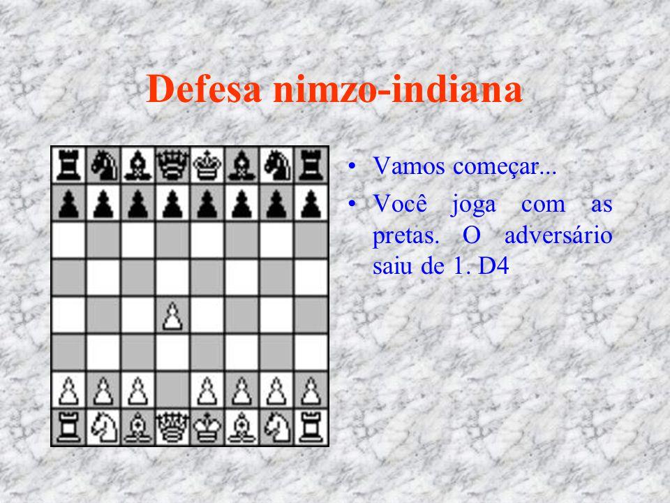 Defesa nimzo-indiana Vamos começar... Você joga com as pretas. O adversário saiu de 1. D4