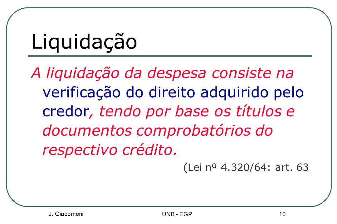 Liquidação A liquidação da despesa consiste na verificação do direito adquirido pelo credor, tendo por base os títulos e documentos comprobatórios do respectivo crédito.
